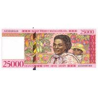 Банкнота Мадагаскар 25000 франков 1998 Серия А