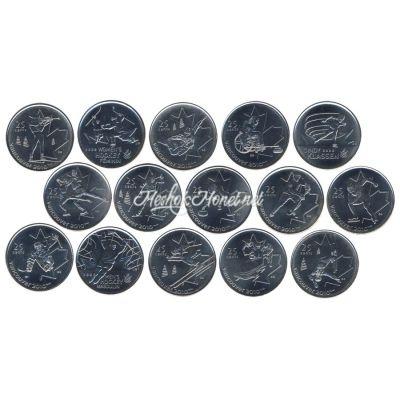 Канада набор монет 25 центов Олимпиада Ванкувер 2007-2009