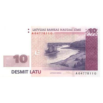 Банкнота Латвия 10 лат 2008