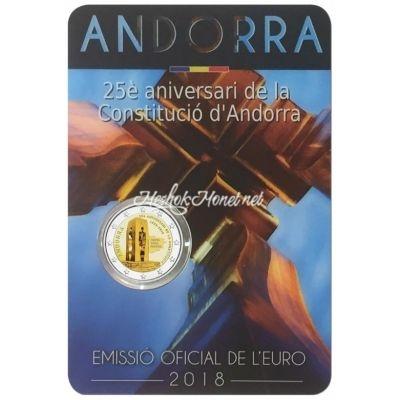Андорра 2 евро 2018 25 лет Конституции Андорры