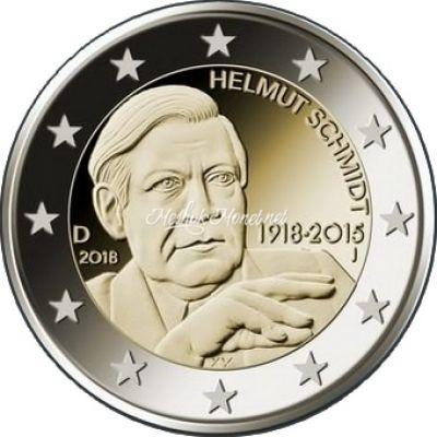 Германия 2 евро 2018 100 лет со дня рождения 5-го федерального канцлера ФРГ Гельмута Шмидта
