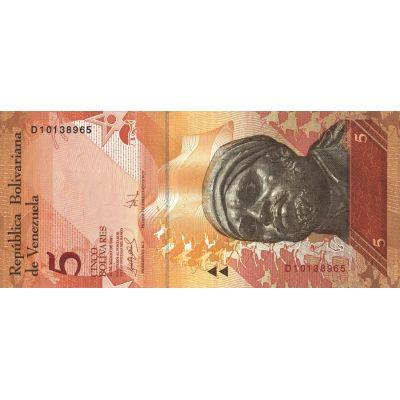 Банкнота Венесуэла 5 боливар 2007
