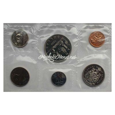 Канада Официальный годовой набор монет 1980  (6 монет в запайке)