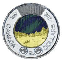 Канада 2 доллара 2017 Полярное сияние Цветная (150 лет Конфедерации Канада)