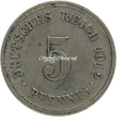 Германия 5 рейхспфеннигов 1912