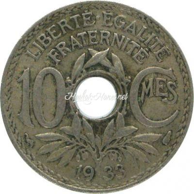 Франция 10 сентим 1933