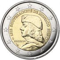 Монако 2 евро 2012 500 лет Монако