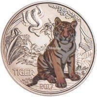Австрия 3 евро 2017 Тигр
